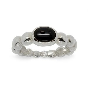 Silver Nugget Ring with Oval Onyx Cabochon