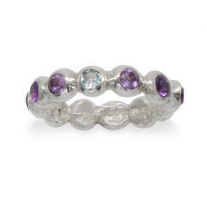 Amethyst Aquamarine Silver Nugget Eternity Ring