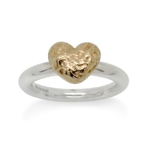 Silver Ring with a 9ct Gold Nugget Heart