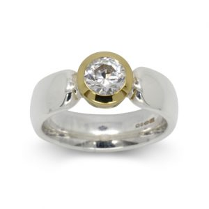 Platinum Gold Engagement Ring with 0.75ct diamond