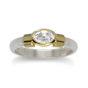 Oval Diamond 18ct Gold Shoulder Ring