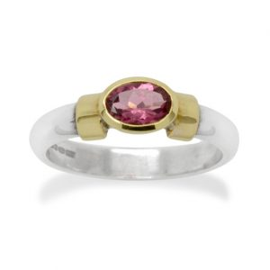 Pink Tourmaline Ring Silver 18ct Gold Shoulder Ring