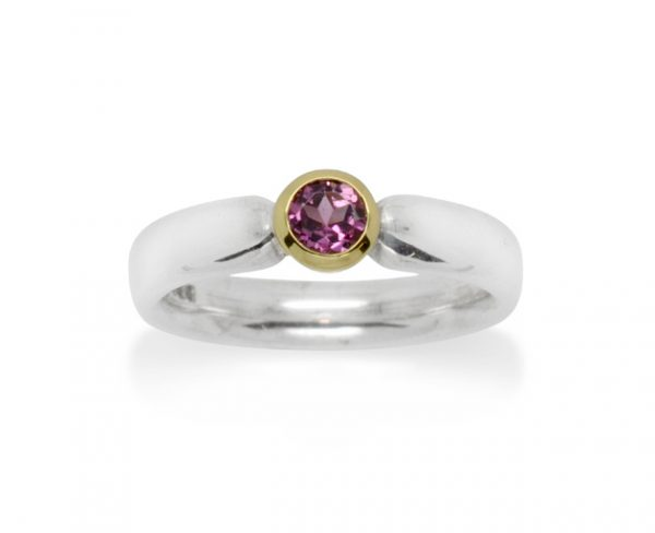 4mm Oval Silver Ring With Pink Tourmaline In 18ct Gold