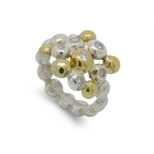 Silver, 18ct Gold and Diamond Nugget Multi Ring