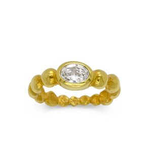Gold Oval Diamond Nugget Ring