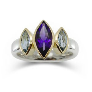 Amethyst trilogy ring amethyst and aquamarine