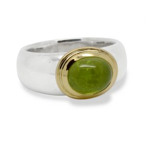 Silver Taper Ring With Peridot Set In 18ct Gold