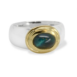11000214 Silver taper ring with tourmaline set in 18ct gold_lrg