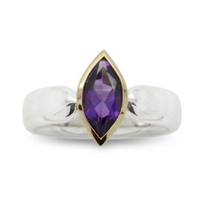 Silver and 18ct Gold Marquise Amethyst Ring