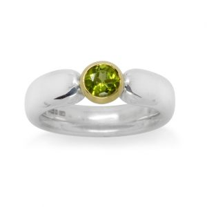 6mm Oval Silver Ring With 6mm Peridot Set In 18ct Gold