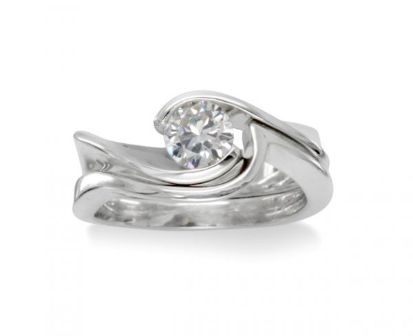 Engagement ring and fitted wedding band flat twist