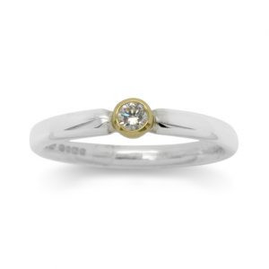 Silver Diamond Ring Set In 18ct Gold