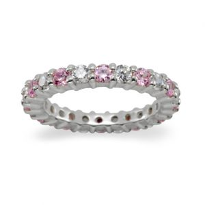 2.6mm claw set platinum eternity ring