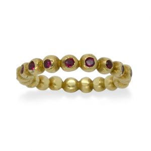 Ruby and Gold Nugget Eternity Ring