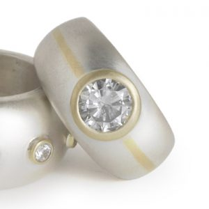 Inlaid 18ct White and Yellow Gold 1.5ct Diamond Ring
