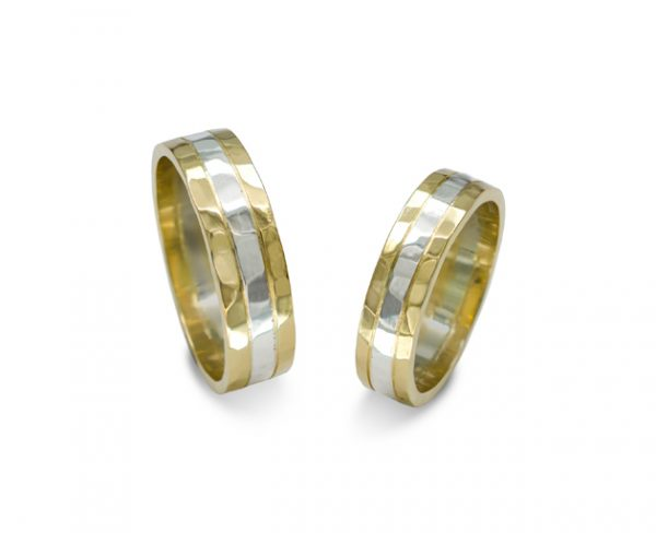 Hammered Two Colour Wedding Rings