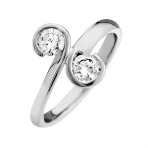 two diamond swirl ring in platinum