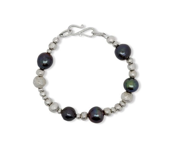 Silver Random Nugget and Black Oil Pearl Bracelet