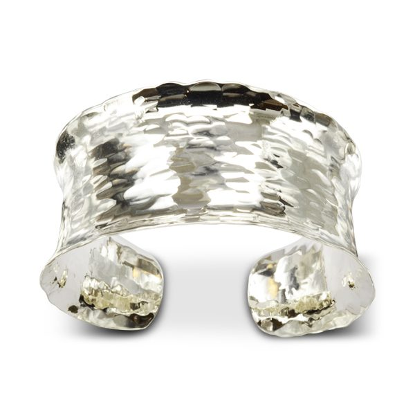 Concave Hammered Silver Cuff Bangle