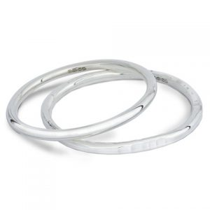 Solid Silver Round Section Bangles
