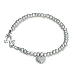 Silver Nugget Bracelet with Nugget Heart