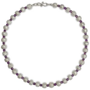 Silver Nugget Variegated Gemstones Necklace