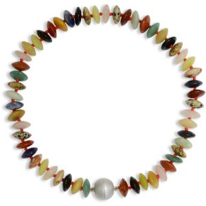 Mixed Semi Precious Smartie Necklace with Magnetic Catch