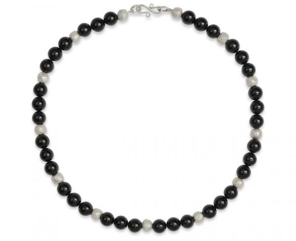 Silver Round Onyx Nugget Necklace