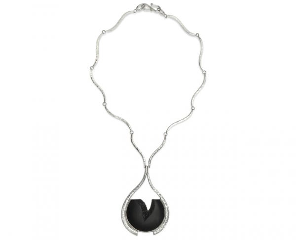 Hand Forged Necklace With Carved Onyx
