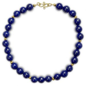Lapis Lazuli Round and Gold Nugget Necklace