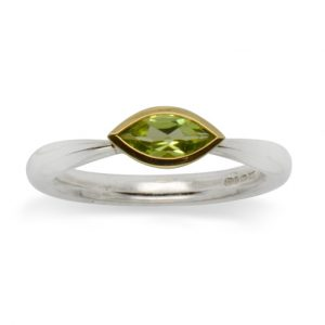 Silver peridot Ring With Marquise Cut Peridot In 18ct Gold