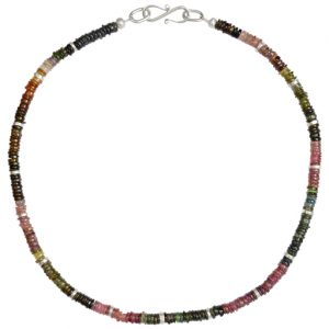 Silver Tourmaline Disc Necklace