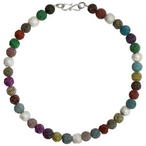 Silver Multi Coloured Lava Necklace