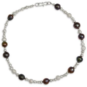 black pearl necklace with solid silver nugget beads