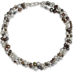 Triple Dark Pearl Twisted Silver Nugget Necklace