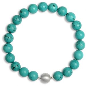 turquoise necklace with a silver magnetic catch
