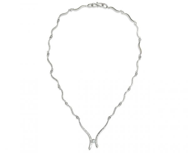 Diamond White Gold Hand Forged Necklace