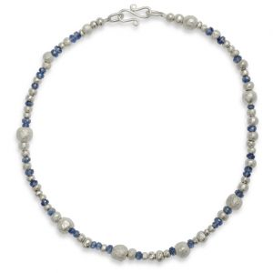 Silver and Iolite Random Nugget Necklace