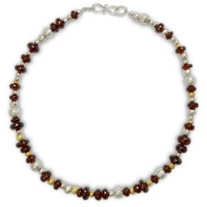 Random Garnet Silver and Gold Nugget Necklace