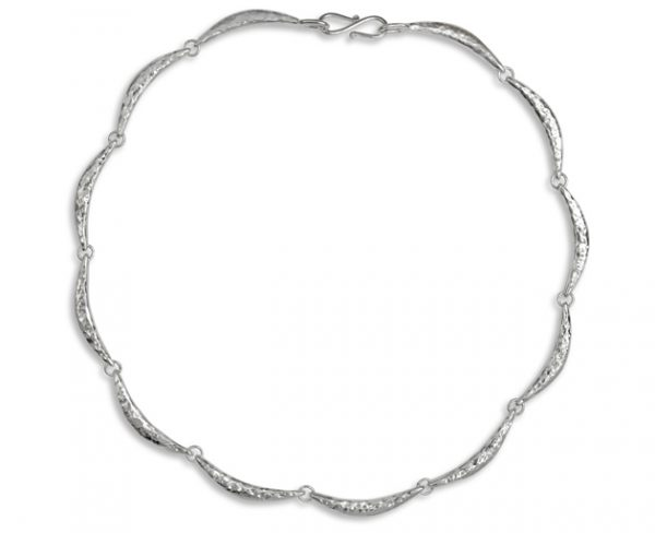 silver hammered crescent necklace peened hammered finish