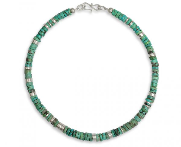 vintage turquoise necklace with hammered silver discs