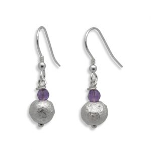 4mm Amethyst 8mm Silver Nugget Earrings
