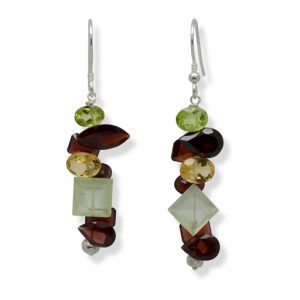 Garnet Citrine Peridot Mix Marwar Facet Earrings