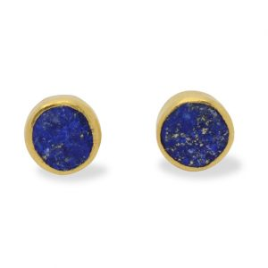 Lapis and Silver Gilt Studs