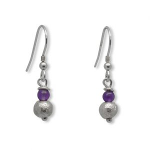 Amethyst and Silver Nugget Earrings