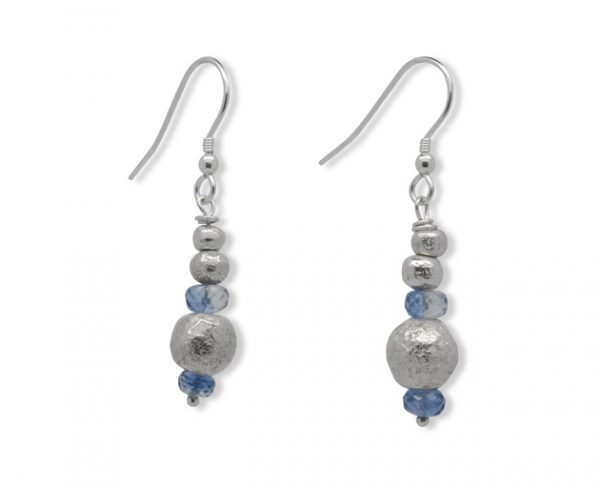 Iolite and Silver Random Nugget Earrings