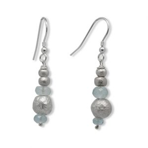 Sky Blue Topaz and Silver Random Nugget Earrings
