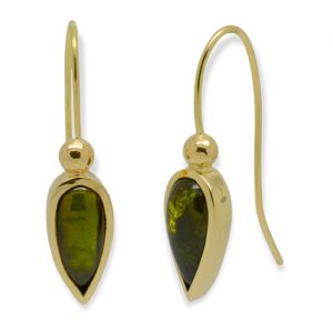 Gold Tourmaline Teardrop Earrings