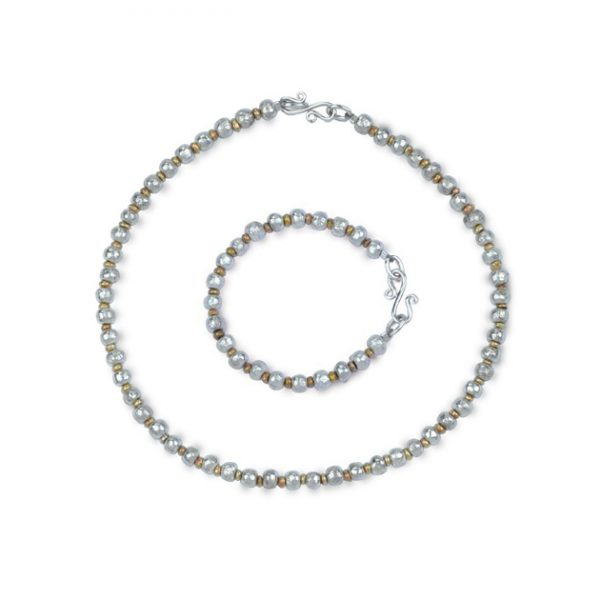Silver gold nugget necklace