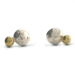 Silver and Gold Nugget Earstuds